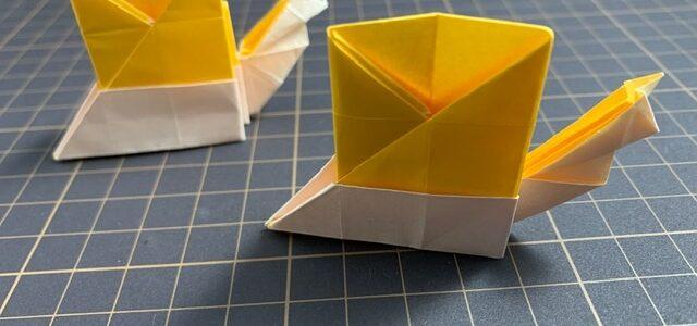 カタツムリの折り紙創作しました!